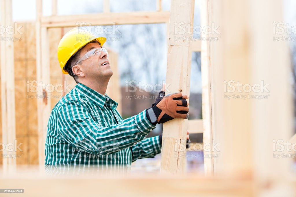 Construction foreman at new home job site stock photo