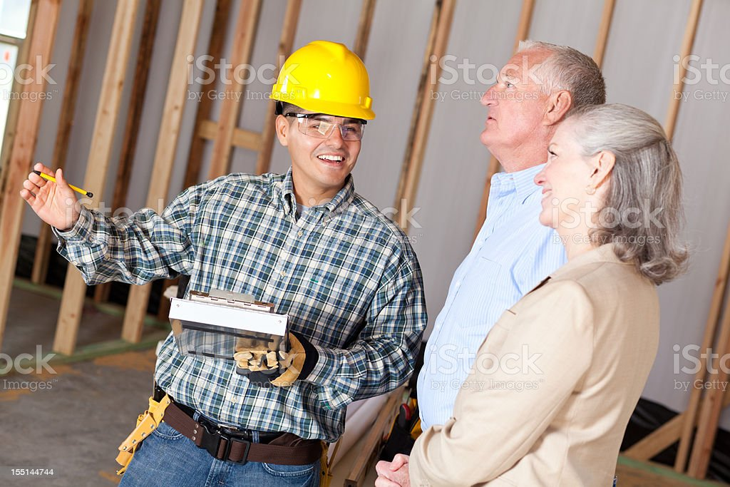 Construction foreman explaining layout to customers royalty-free stock photo