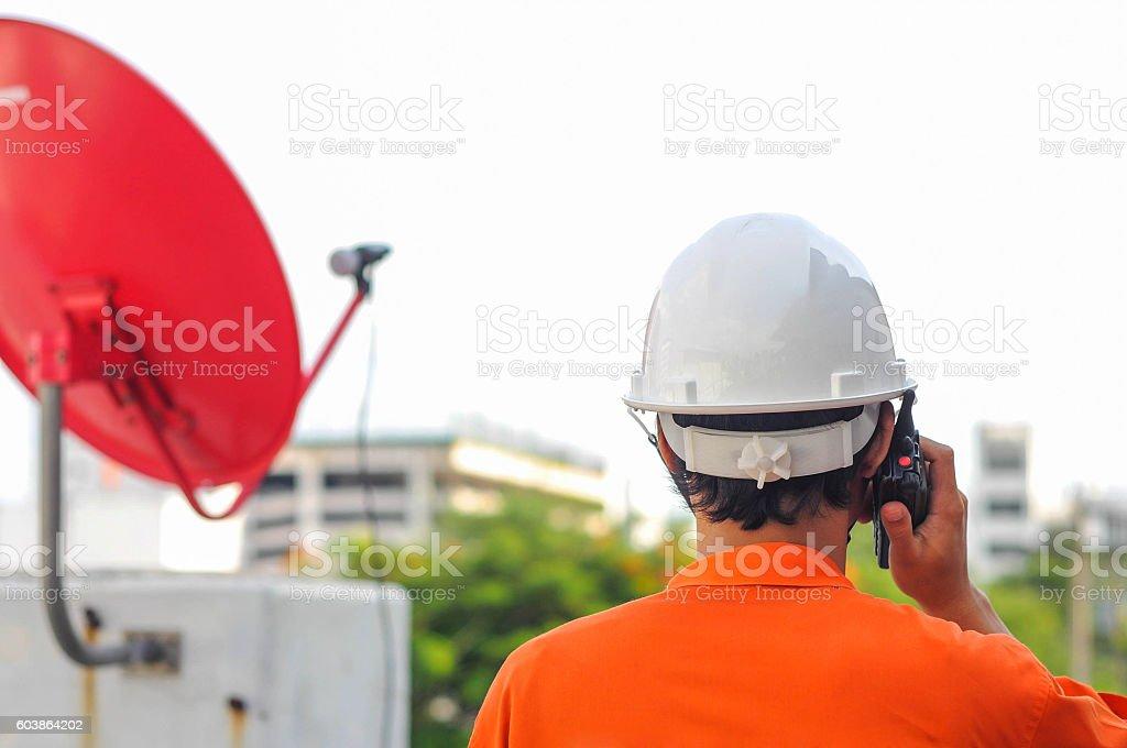 construction foreman talking communication stock photo