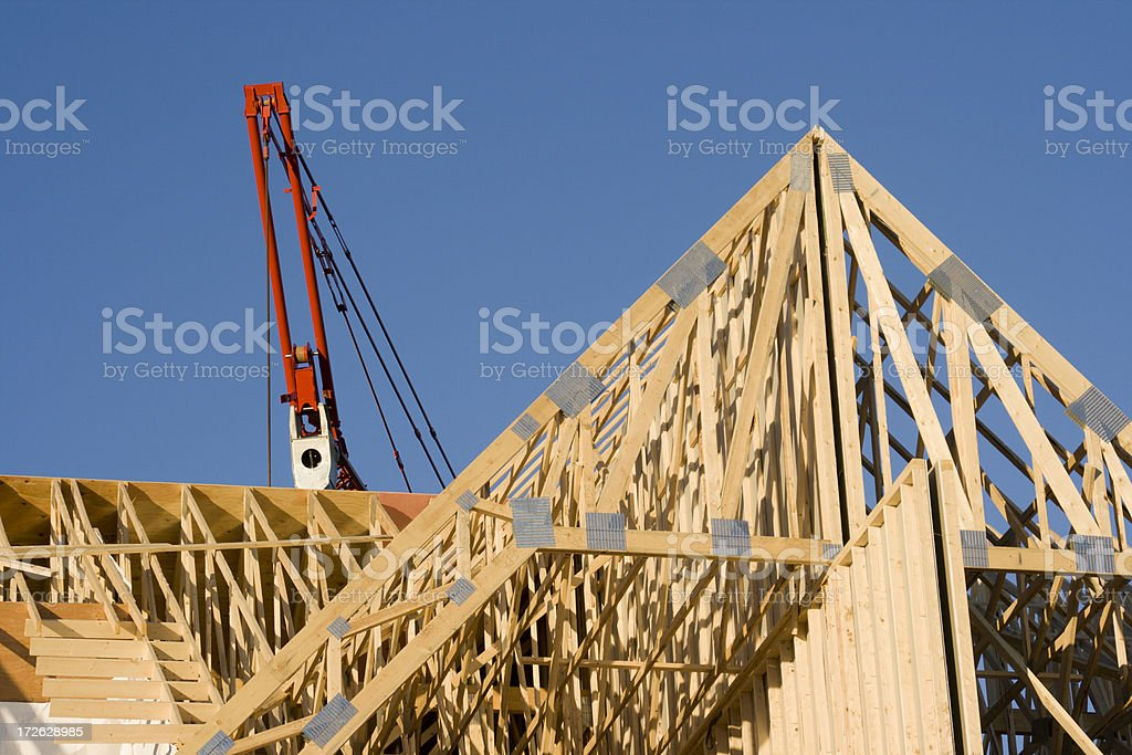 Construction Frame Wooden Roof Trusses for Residential Structure, Home Building stock photo
