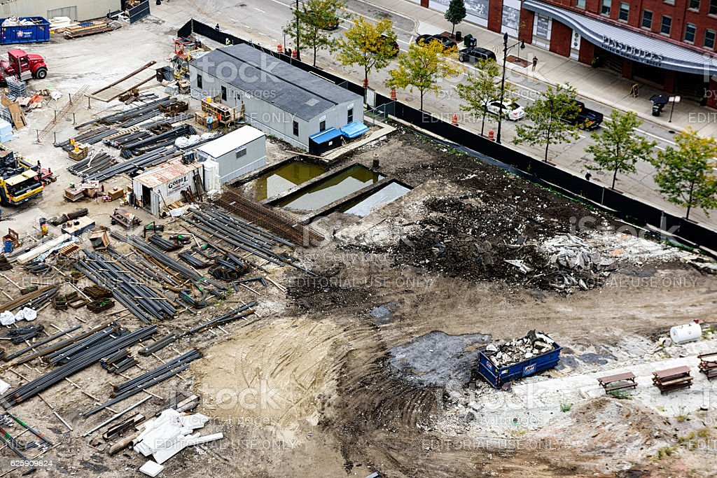 Construction from above,  Streeterville, Chicago stock photo