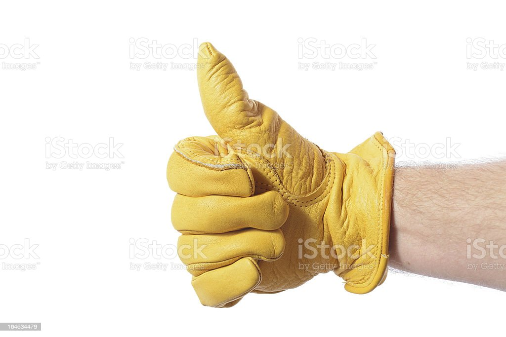 construction glove thumbs up stock photo