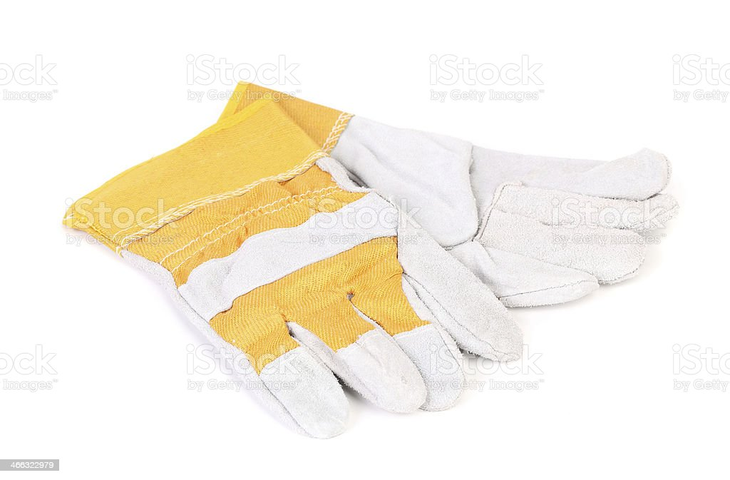 Construction gloves yellow white. stock photo