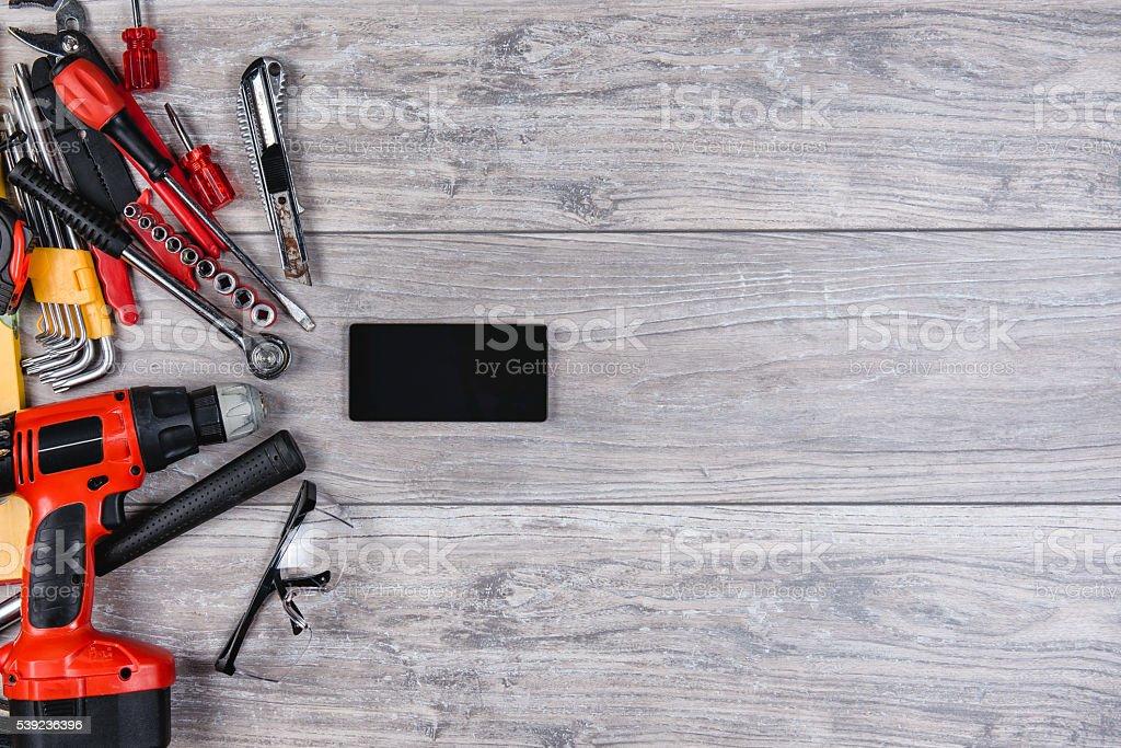 Construction hand tools flat lay stock photo