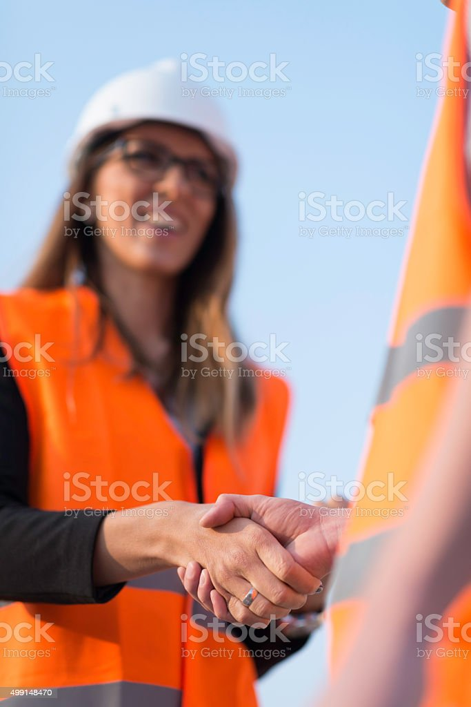 Construction handshake stock photo