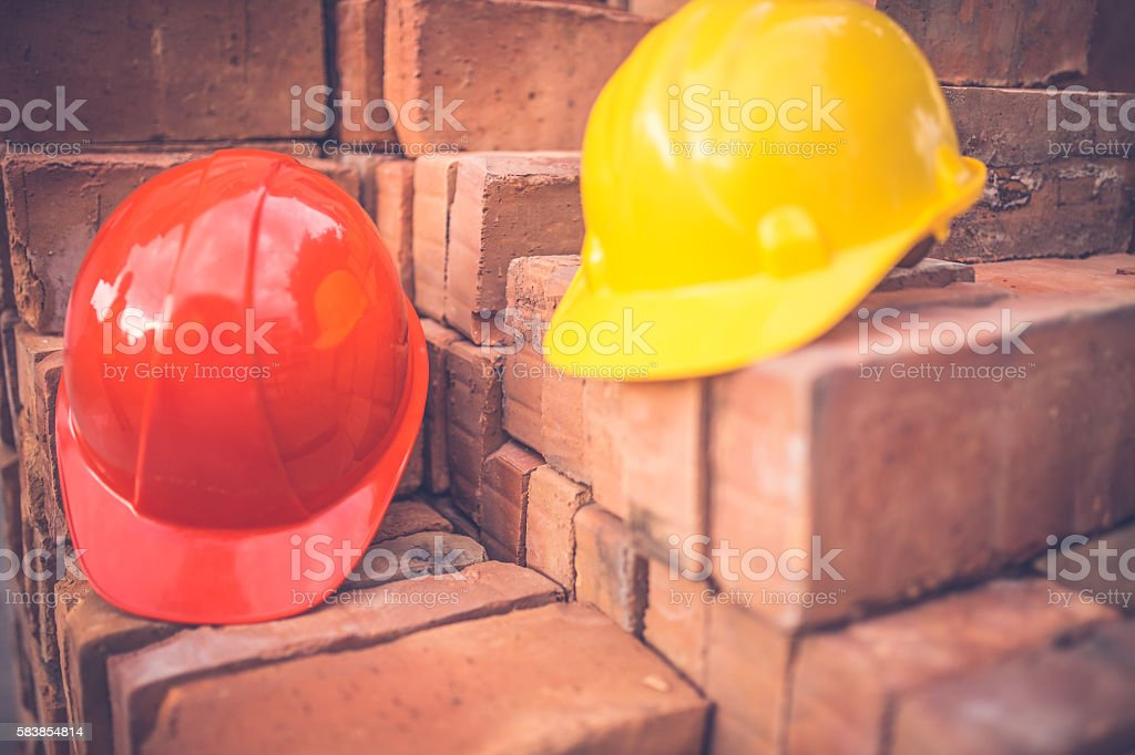 Construction hard hat stock photo