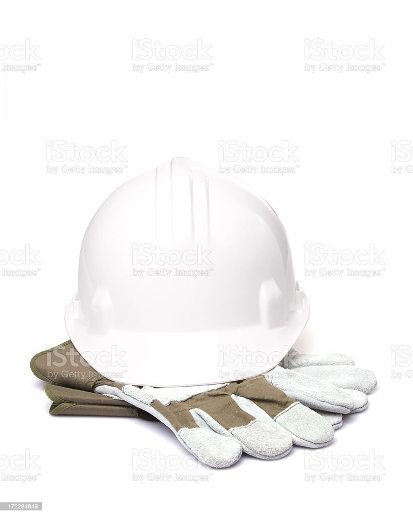 Construction helmet with gloves stock photo