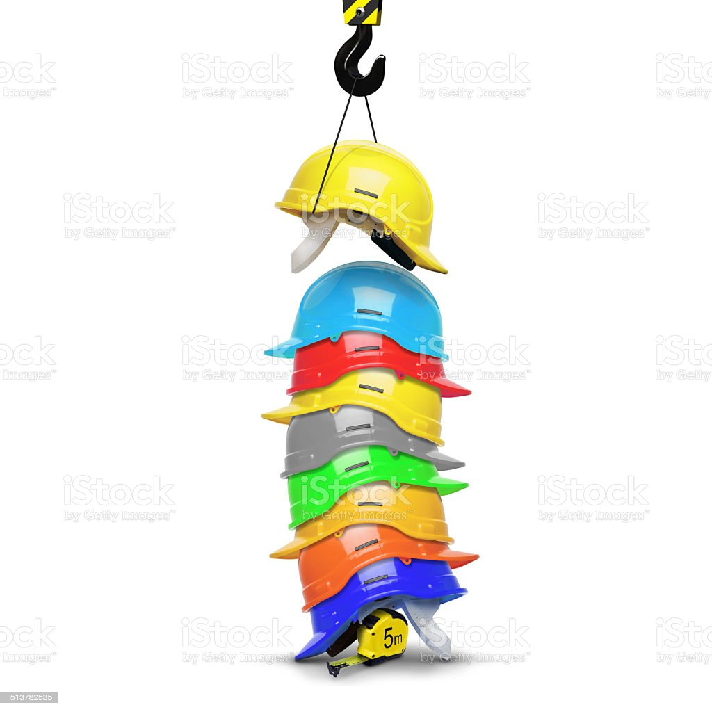 Construction helmets stock photo