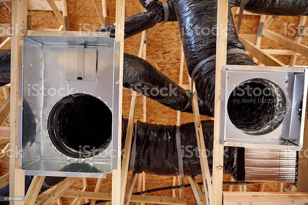 Construction home building return air duct plenum hvac stock photo
