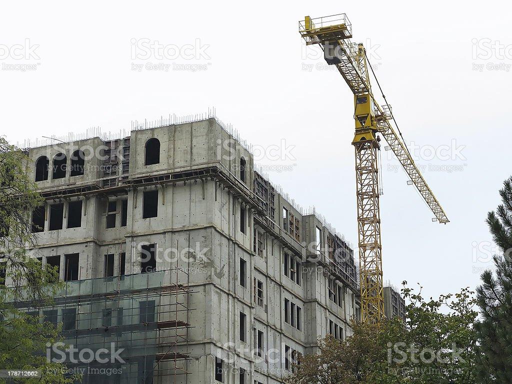 Construção casa com Guindaste foto de stock royalty-free