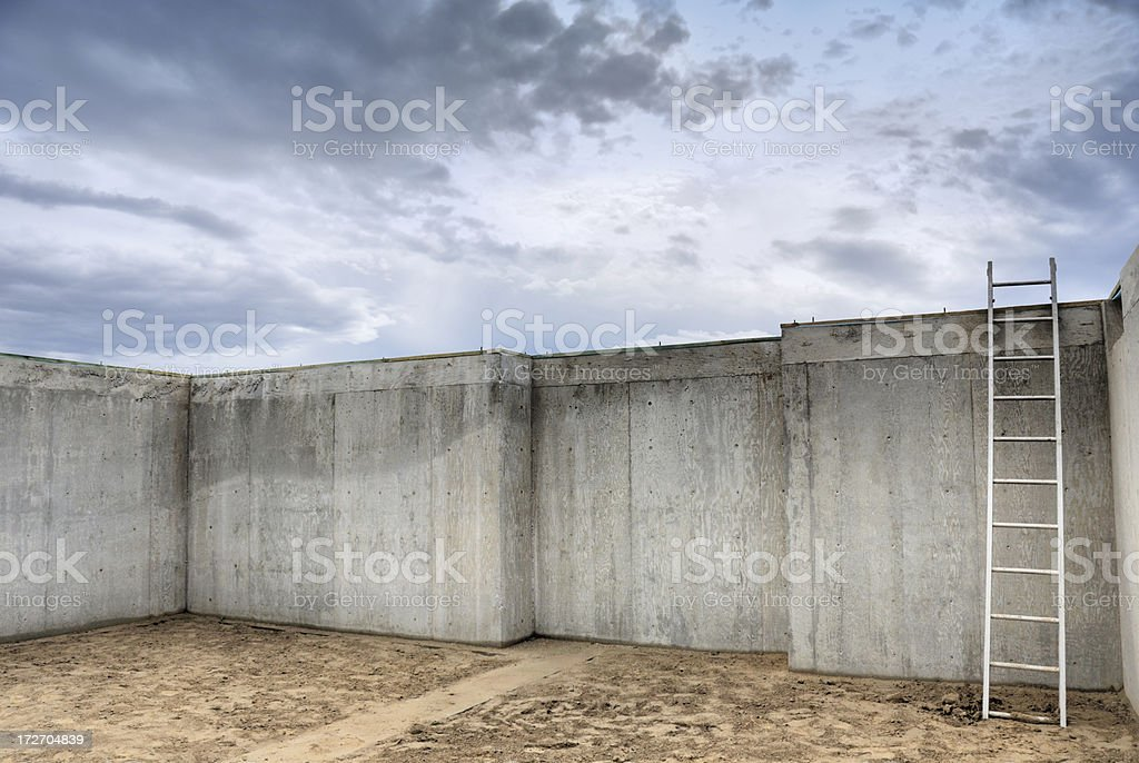 Construction In Abstract  -  New Foundation Walls At Early Sunrise royalty-free stock photo