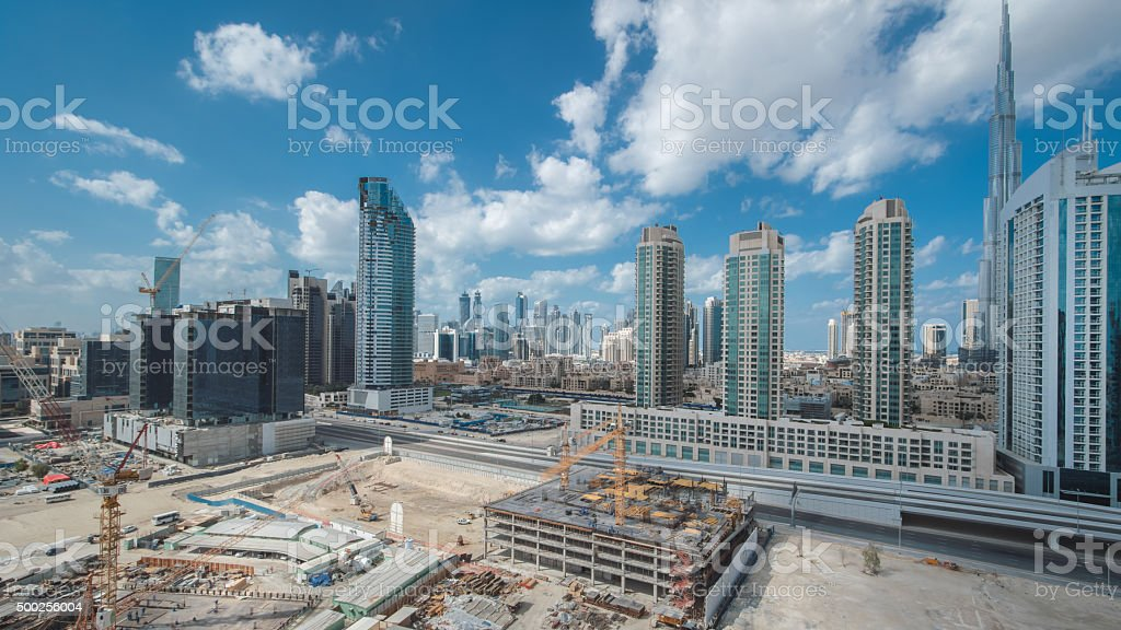 Construction in Dubai on a Cloudy Day stock photo