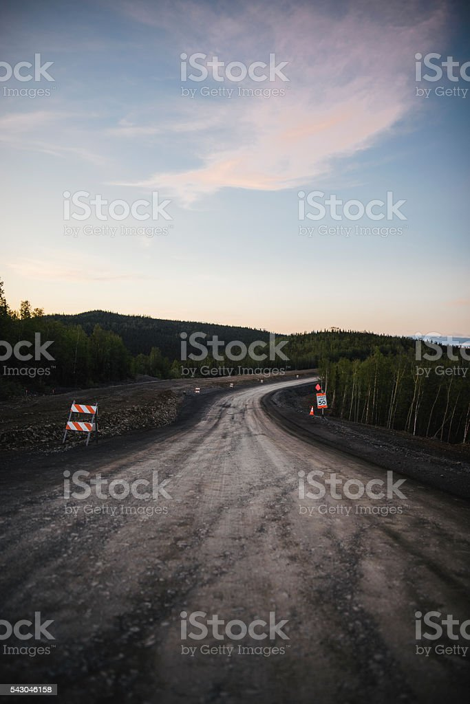 Construction in Northern Alaska stock photo