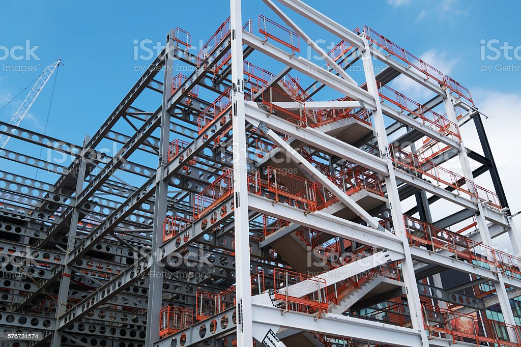 Steel skeleton on new construction site in Manchester as a new...