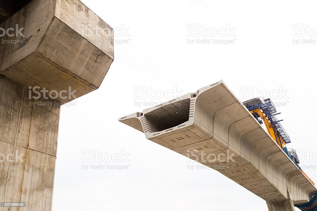 Construction in progress of a mass rapid transit line stock photo