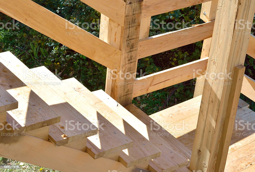 Construction Job Site. Stairs Framing stock photo