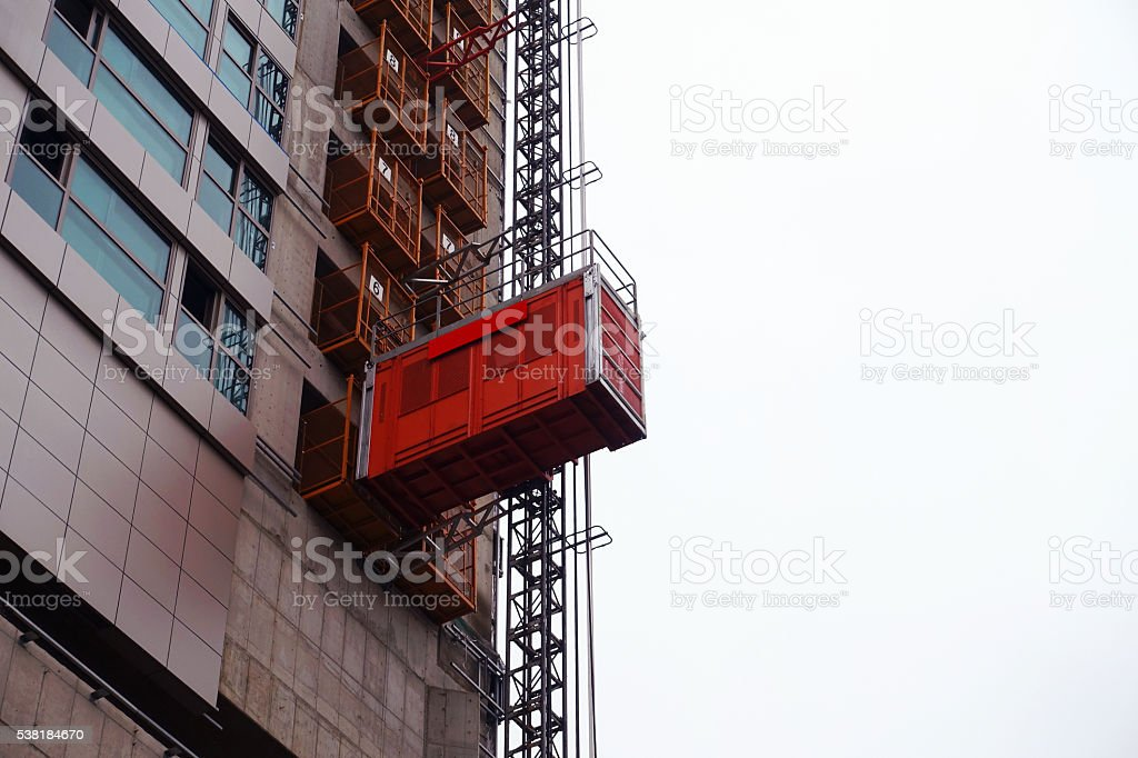 Construction lift stock photo