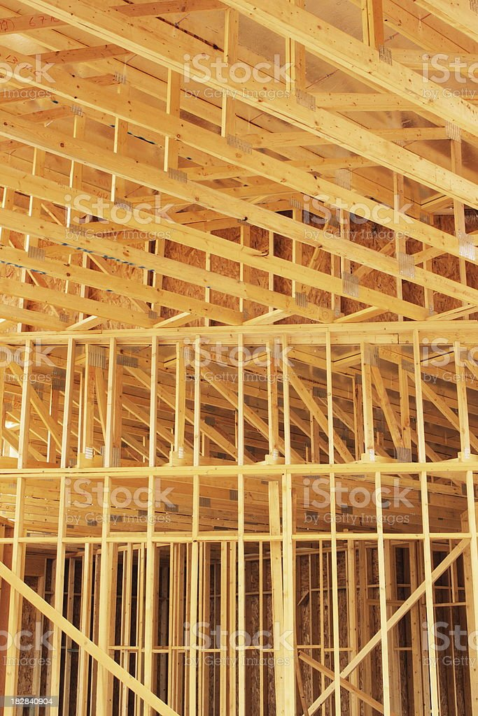 Construction Lumber Plank Ceiling Wall royalty-free stock photo