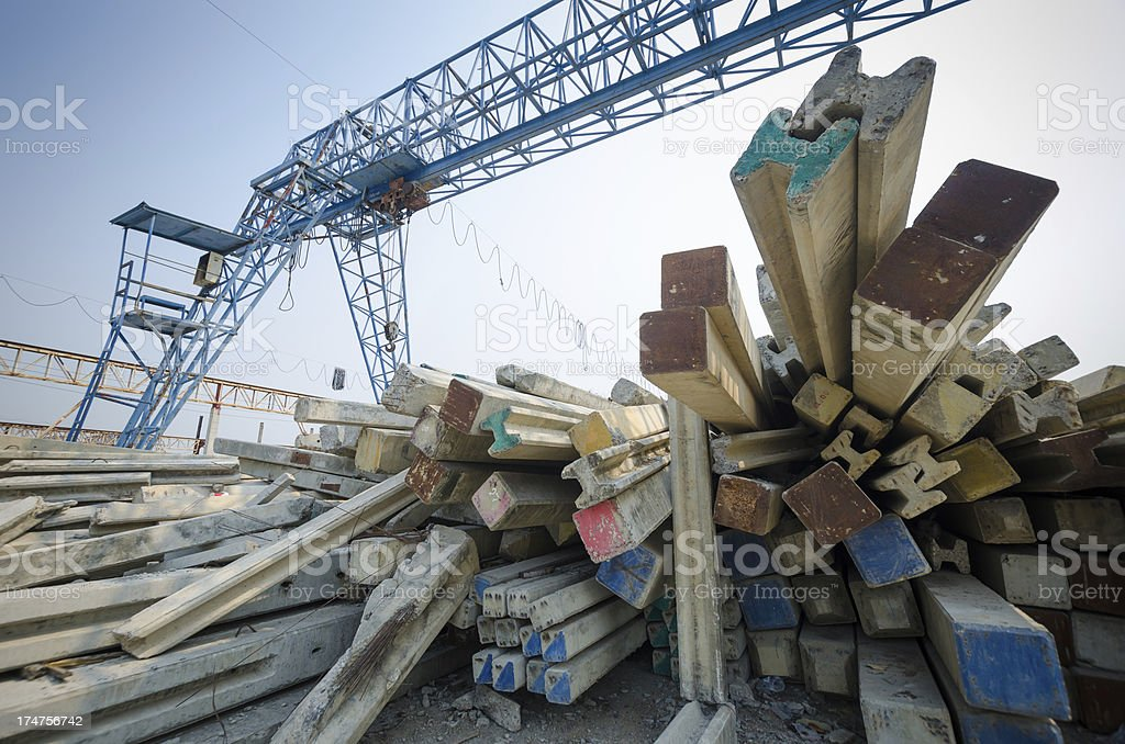 Construction machines are working on site stock photo