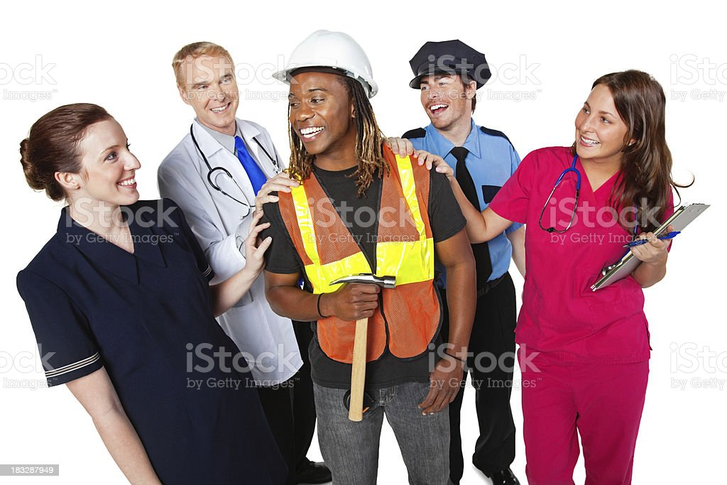 Construction Man Being Congratulated By Other Professionals stock photo