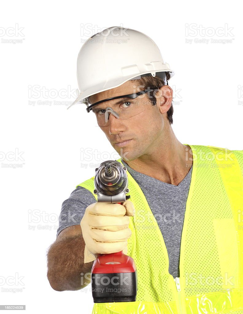 Construction Man With Drill royalty-free stock photo