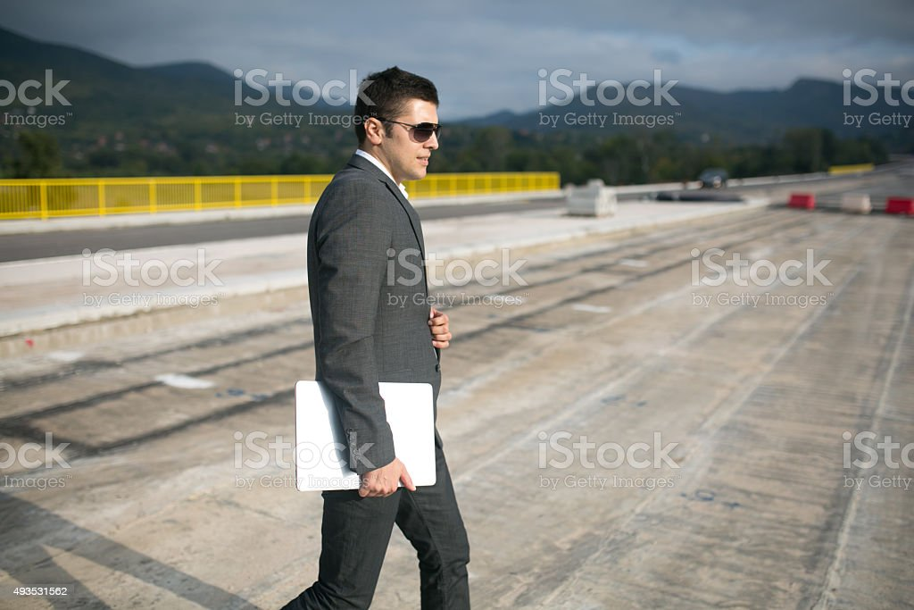Construction Management and Quality Control for Road Works stock photo