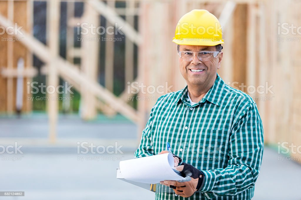 Construction manager at work site stock photo