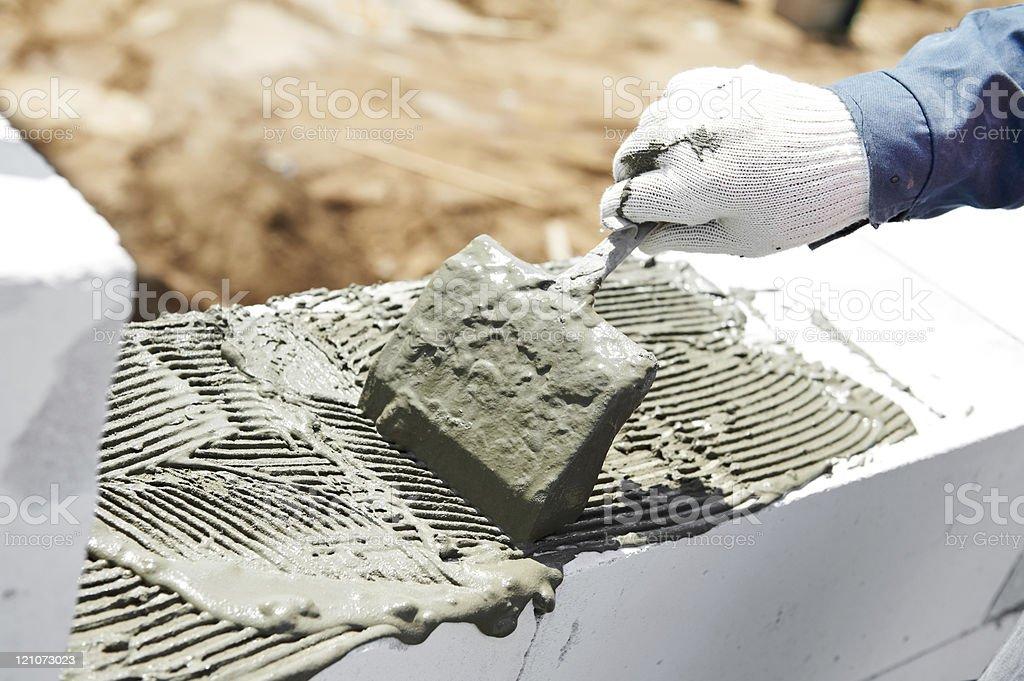 construction mason bricklaying work stock photo