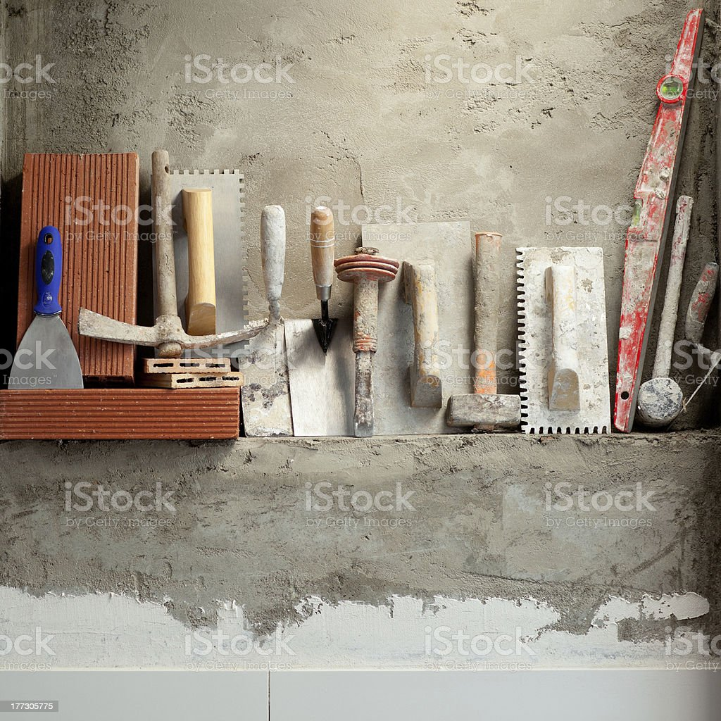 Construction mason cement mortar tools stock photo