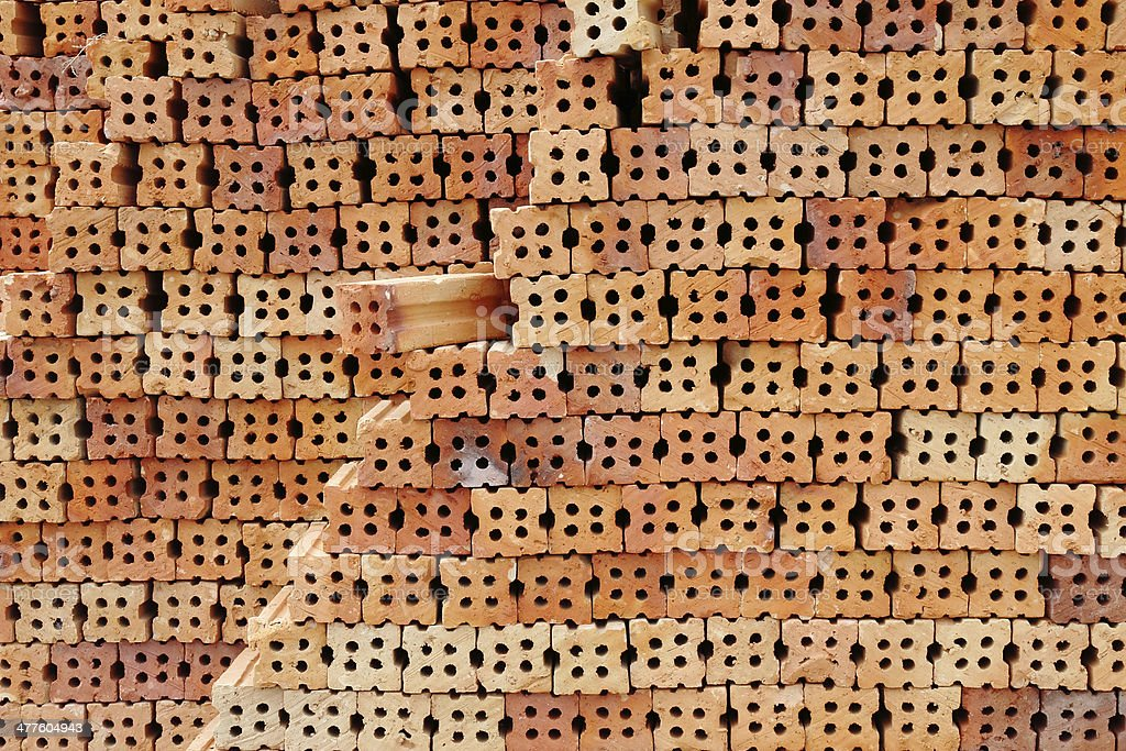 Construction materials / Background of red brick wall texture royalty-free stock photo
