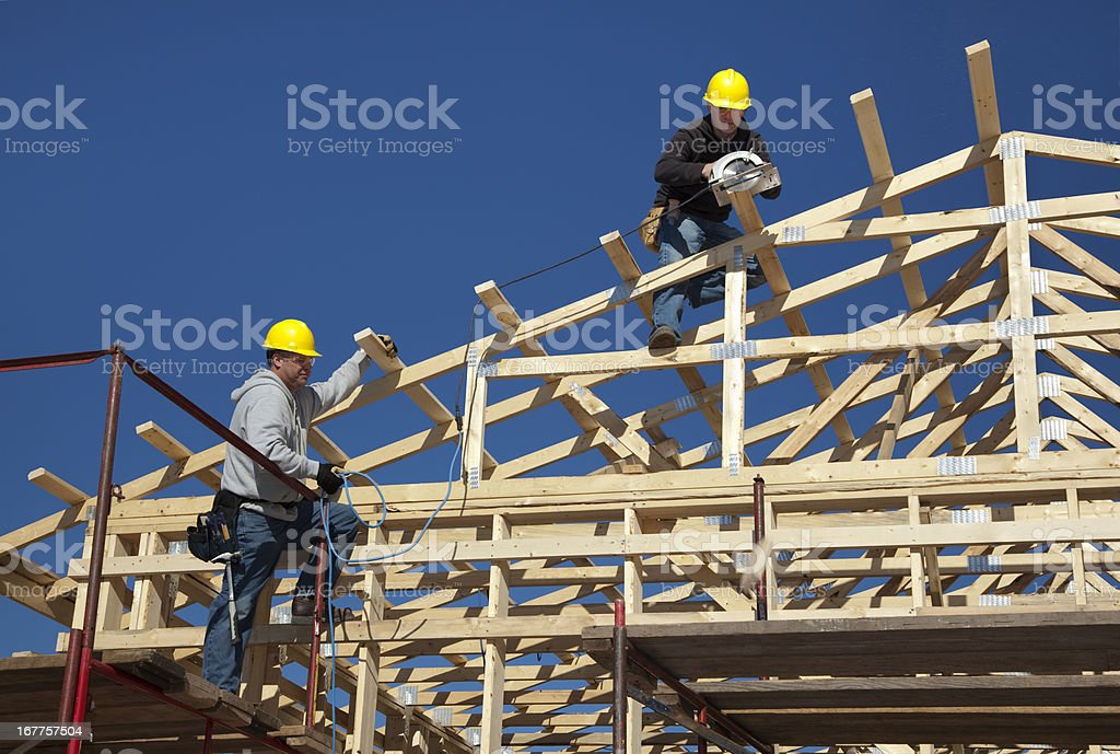 Construction Men Framing New Building stock photo