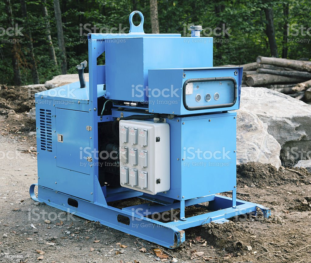 Construction mobile diesel-fueled electricity generator stock photo