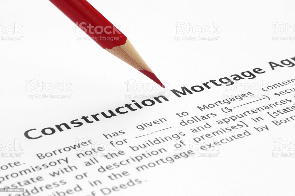 Construction mortgage agreement royalty-free stock photo