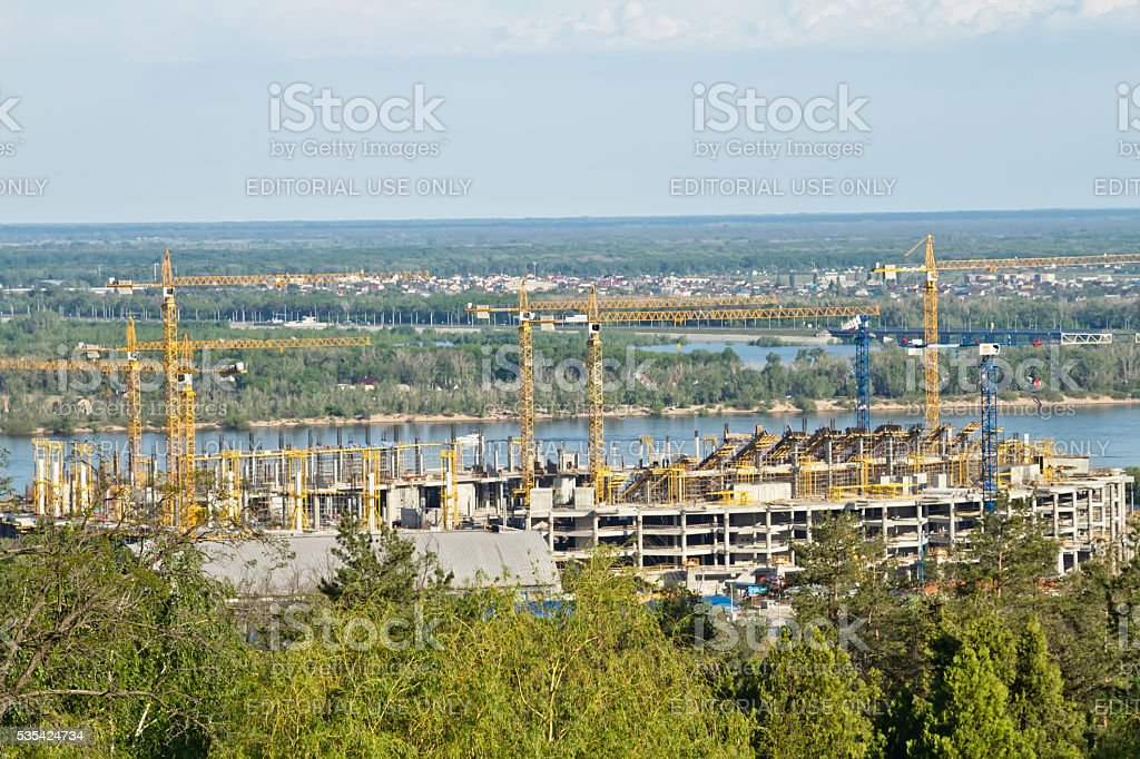 construction new football stadium for the world Cup in 2018 stock photo