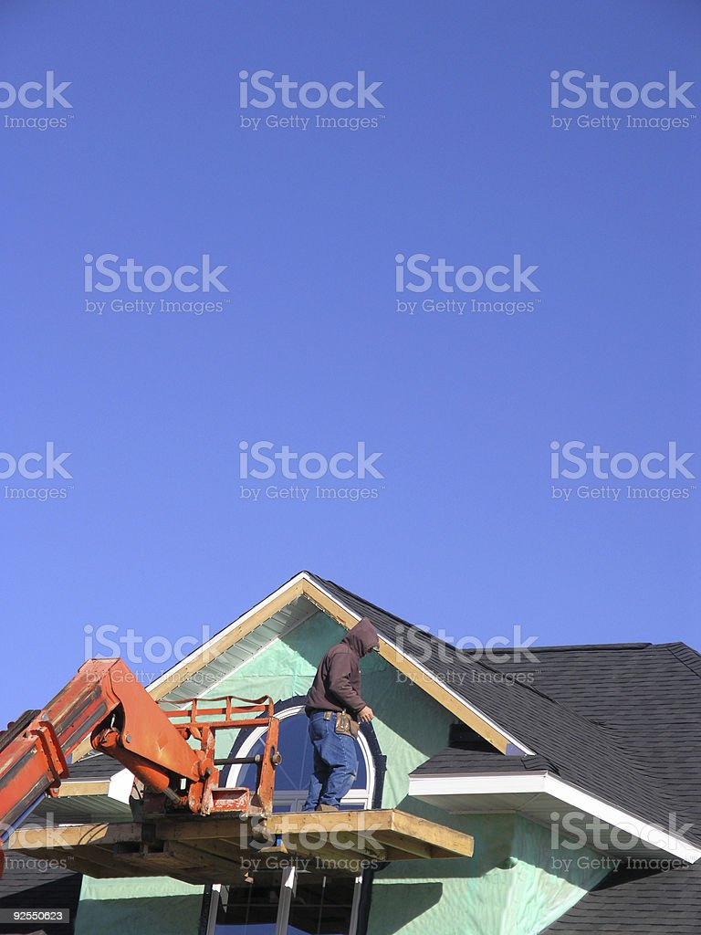 Construction, New House w/Worker royalty-free stock photo