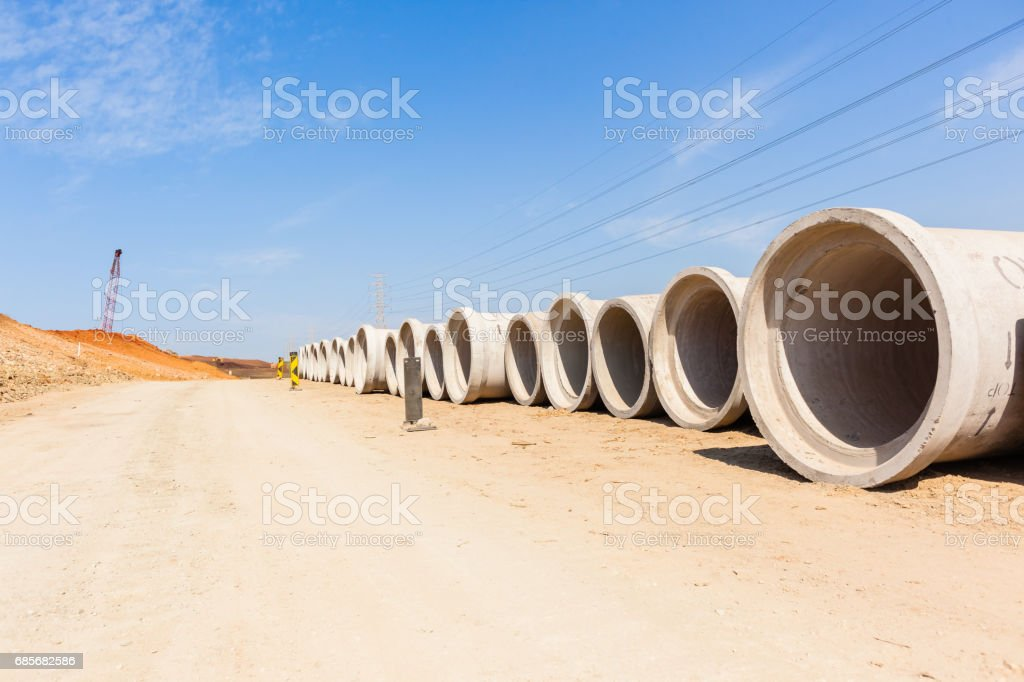 Construction New Road Storm Drain Pipes stock photo