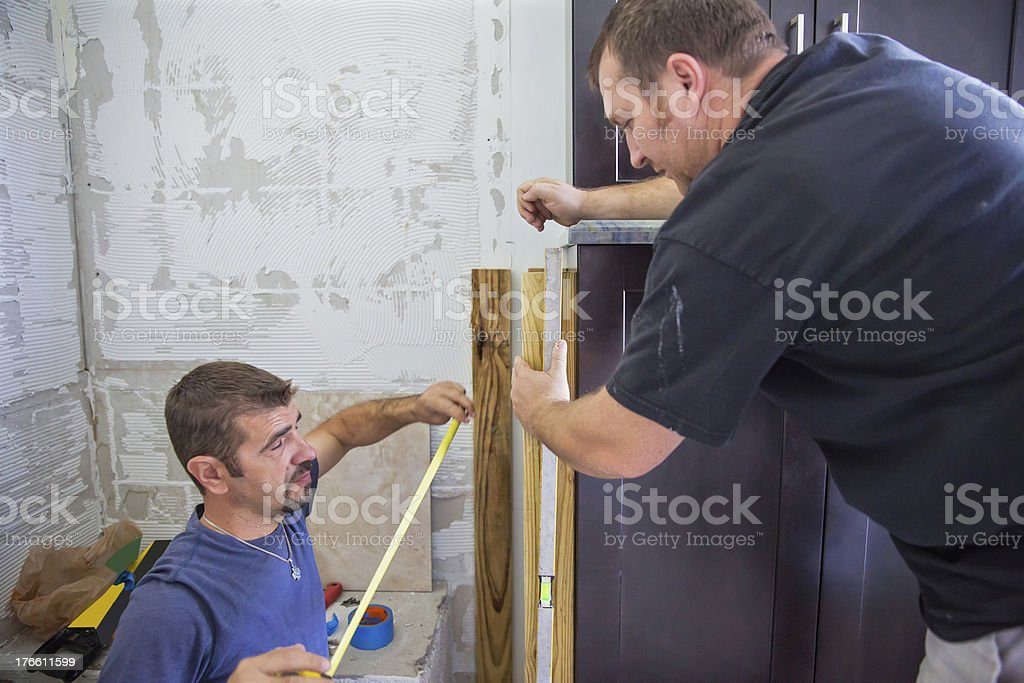 Construction of a bathroom shower stall royalty-free stock photo