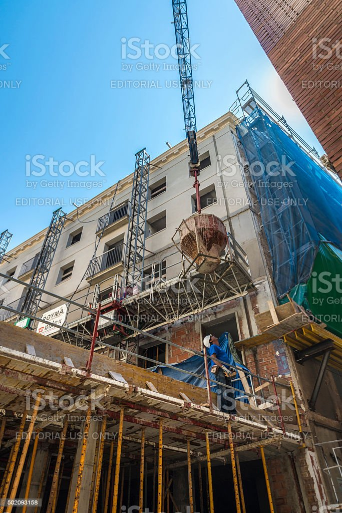 Construction of a building, Barcelona stock photo