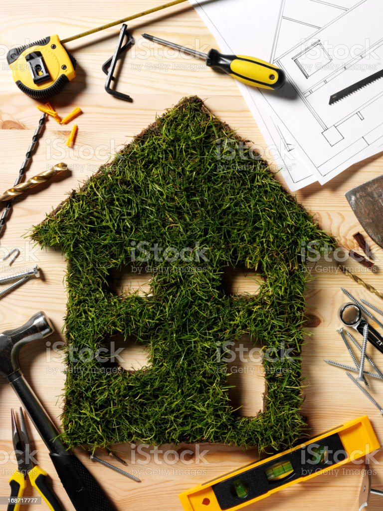 Construction of a Grass House royalty-free stock photo