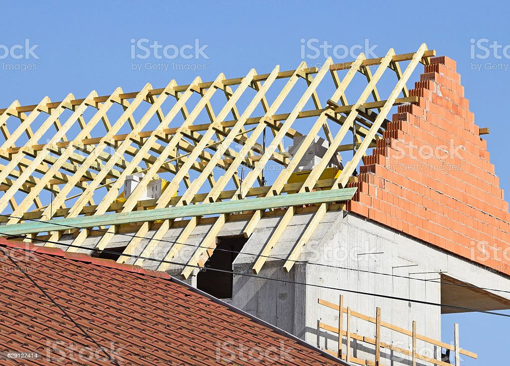 Construction of a new house stock photo