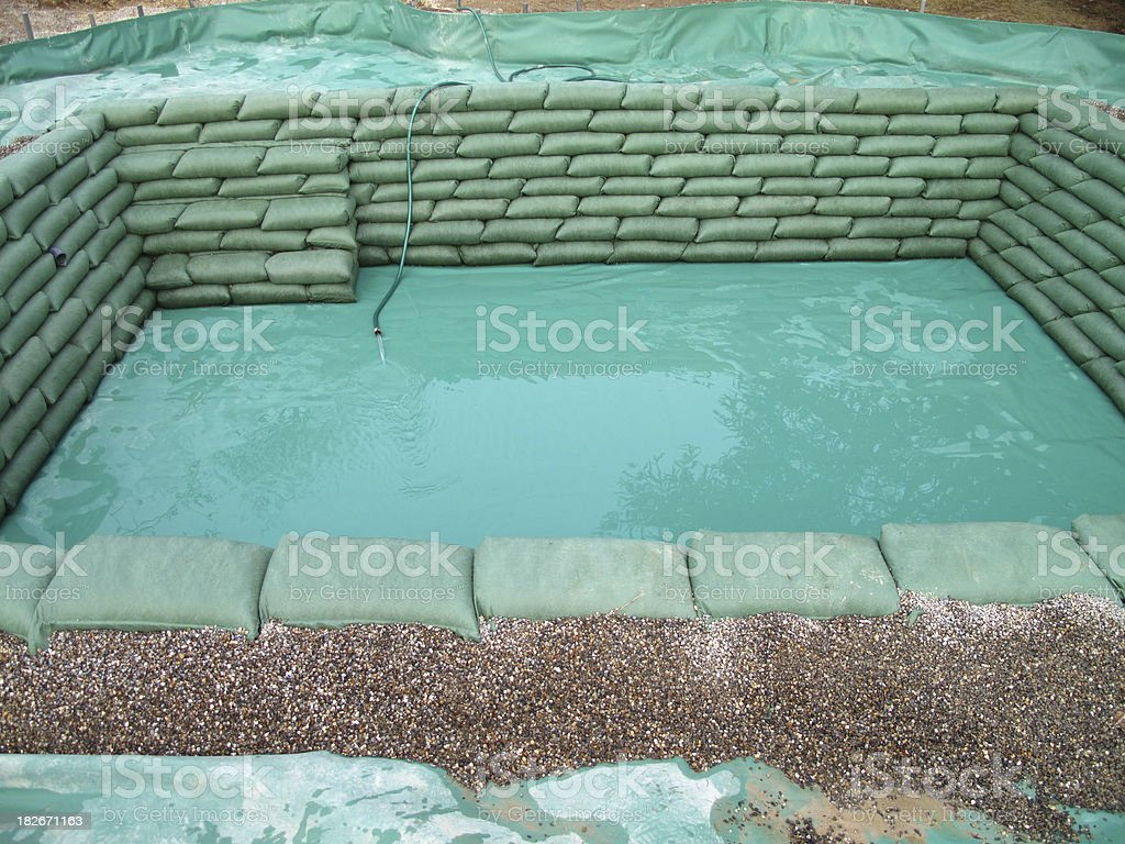 Construction of a new pond stock photo