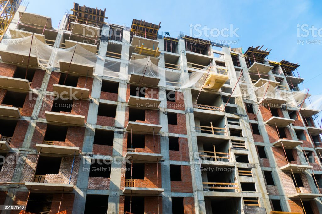 Construction of a new residential building stock photo