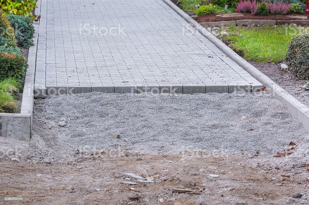 Construction of a paved surface. stock photo