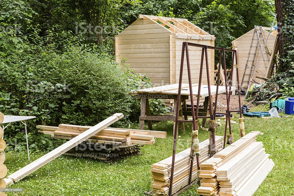 Construction of a wooden hut stock photo