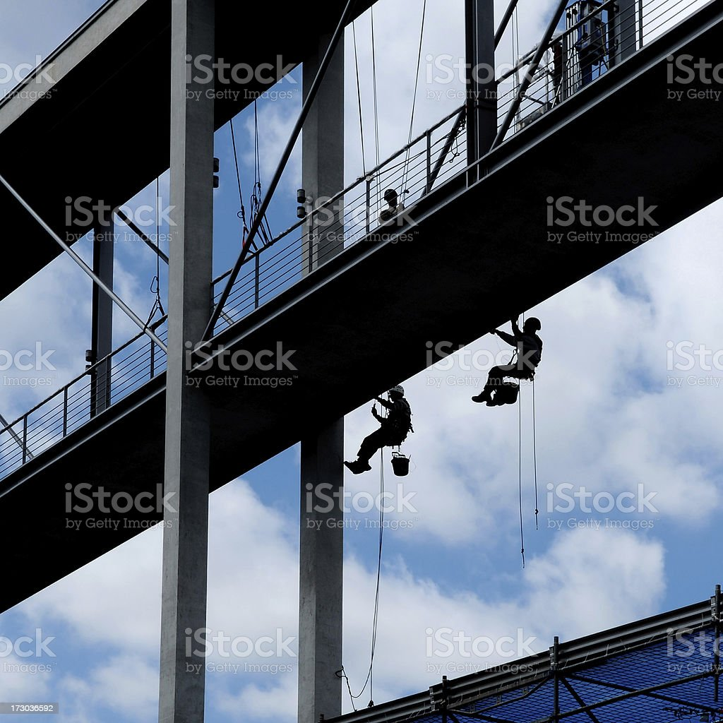 construction of bridge and workers stock photo