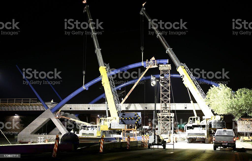 Construction of Bridge- Night royalty-free stock photo