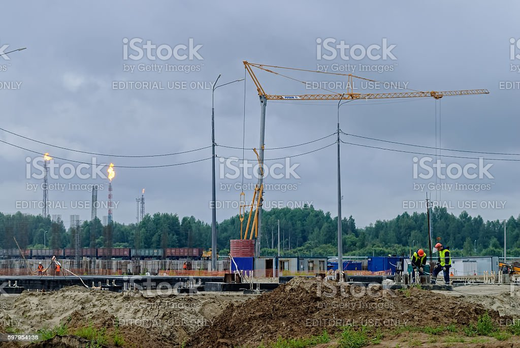 Construction of chemical factory. Tobolsk. Russia stock photo