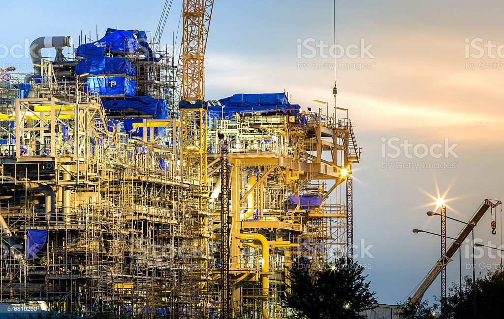construction of chemical plant industry stock photo