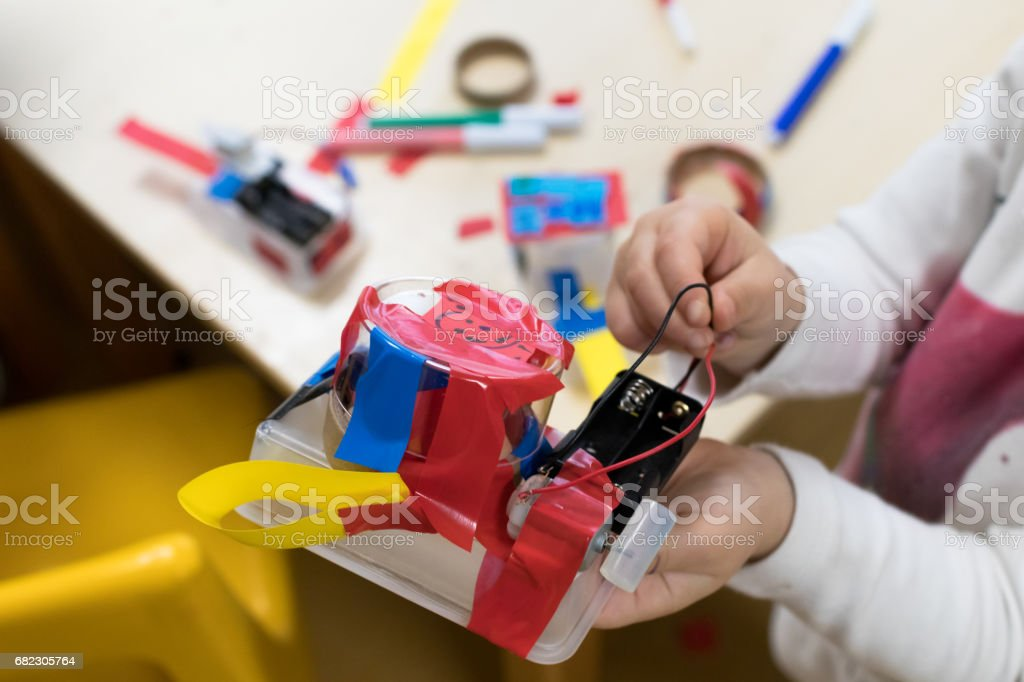 Construction of children's robots. stock photo