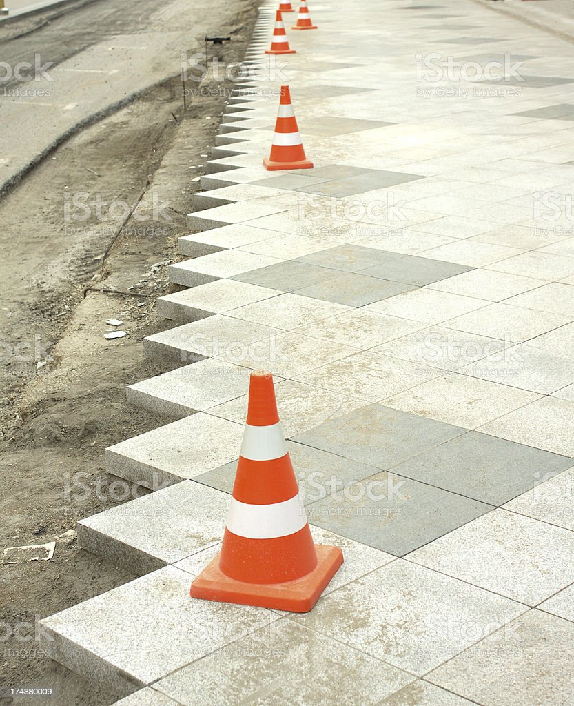Construction of city pedestrian area royalty-free stock photo